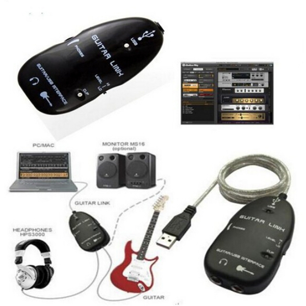 Guitar Accessories USB Guitar Link Cable PC To Guitar USB Interface Audio Link Cable(China (Mainland))