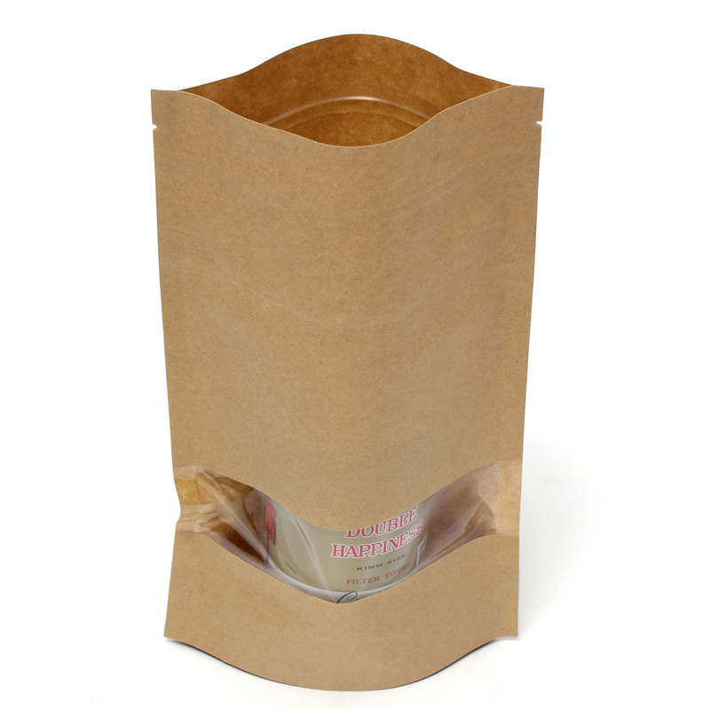 10Pcs 16x26x28 Thick Brown Kraft Paper Bag For Tea Snack Gift Storage Sealable Pouch ZipLock Packing Pouch middle transparent(China (Mainland))