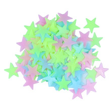Glow Wall Stickers 100pcs/lot Decal Baby Kids Bedroom Home Decor Color Stars Luminous Fluorescent 3 clors DA(China (Mainland))