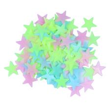 บริษัทโกลว์สติ๊กเกอร์ติดผนัง100ชิ้น/ล็อตรูปลอกเด็กเด็กห้องนอนตกแต่งบ้านสีดาวส่องสว่างเรืองแสง3 clors DA