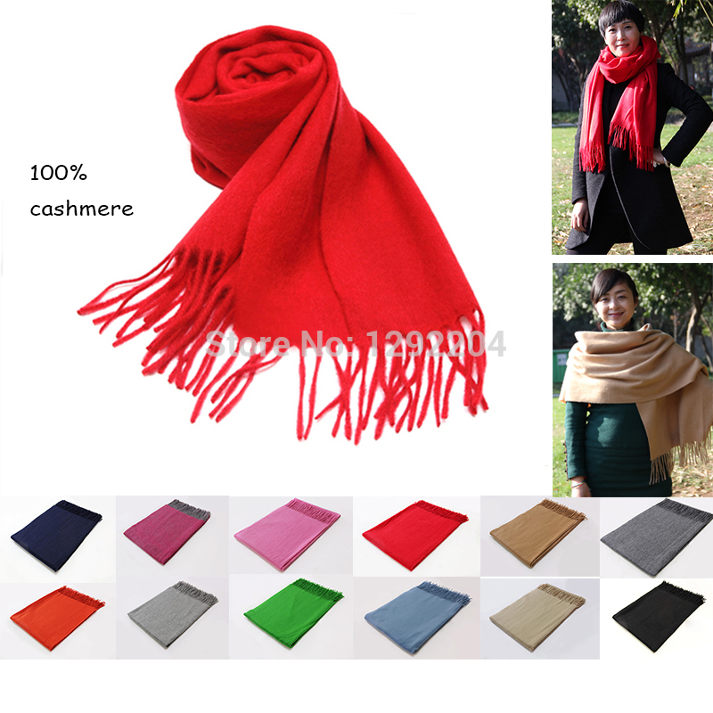 Fashion woman winter scarf >175CM solid warm women scarves 100% cashmere shawl brown Winter pashmina famous brand outdoor scarf(China (Mainland))
