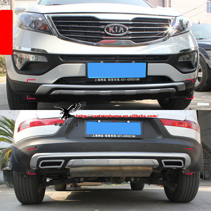High Quality ABS Front &amp; Rear Bumper Protector Skid Plate For Kia Sportage R 2010 2011 2012 2013<br><br>Aliexpress