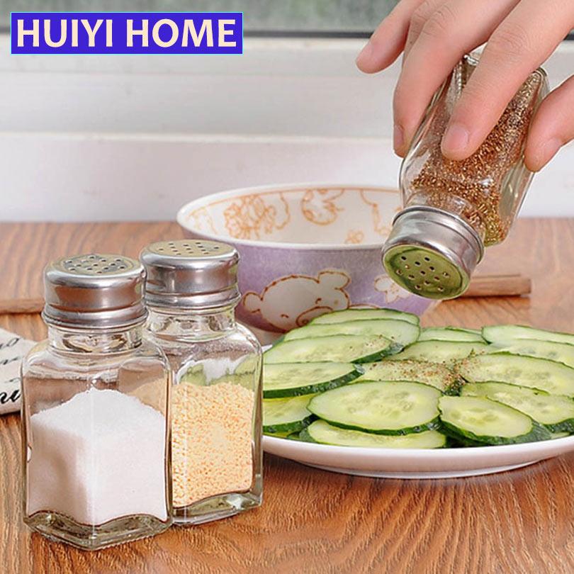 Transparent Glass Spice Jars Kitchen Organizer Barbecue Condiment Storage Bottles Salt Pepper Cruet Accessories EGH003(China (Mainland))