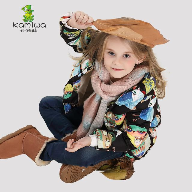 KAMIWA 2016 Сова Печати Девушки Зимние Пальто И Куртки Дети Верхняя Одежда Теплая Вниз Проложенный Одежды Куртка Дети Девочки Одежда