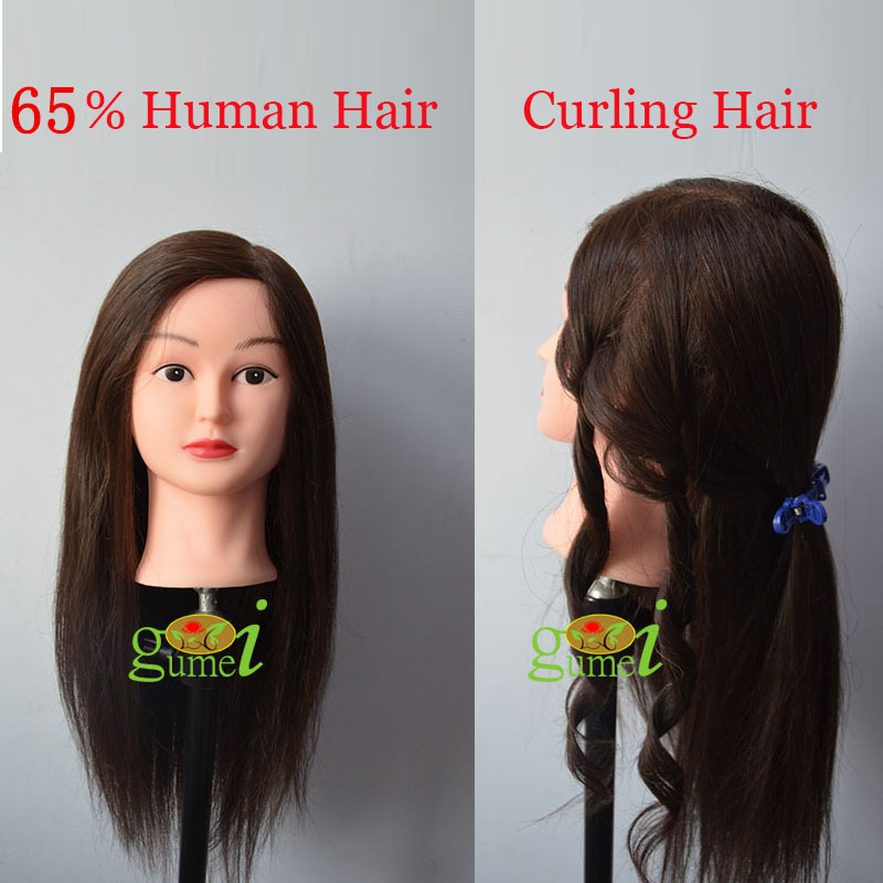 Free Shipping Manequin Dummy Training Head 65% Human Hair For Curling Hairstyling Training Mannequin Head With Hair(China (Mainland))