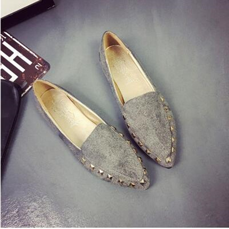 Hot Sale 2016 spring/summer new women fashion pointed rivet flat shoes woman daily casual leisure single flats<br><br>Aliexpress
