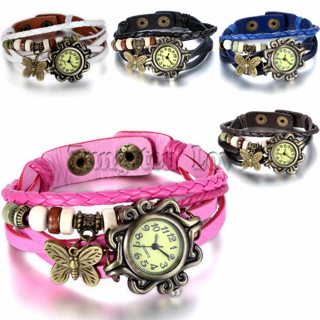 5 Colors Women Leather Bracelet Watch Women Dress Watches Butterfly Pendant Vintage Quartz Analog WristWatch pulseira feminina(China (Mainland))