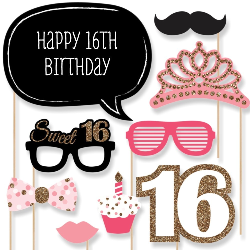23pcs happy 16th Birthday Party favor Supplies Photo Booth Props wedding Decor Funny Mask Baby Shower Kids Boy Girl kids gift(China (Mainland))