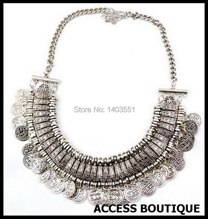 2015 Summer Style Coin Necklace Bohemian Jewelry Colar Monedas Alloy Metal Tassel Pendant Turkish Maix Coin Necklace For Women(China (Mainland))