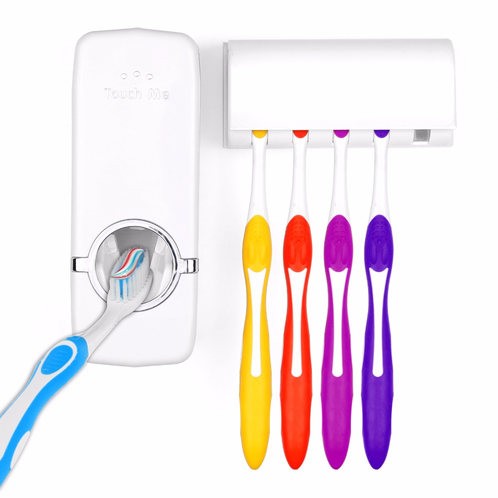 Automatic Toothpaste Dispenser 5 Toothbrush Holder Set Wall Mount Stand toothbrush Family Set Auto Toothpaste Dispenser Squeezer(China (Mainland))