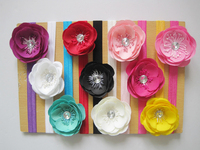 "10pcs/lot free shipping 3"" Ruffle Ranunculus flowers with 1.5cm shimmery soft headband baby headband hair accessory"