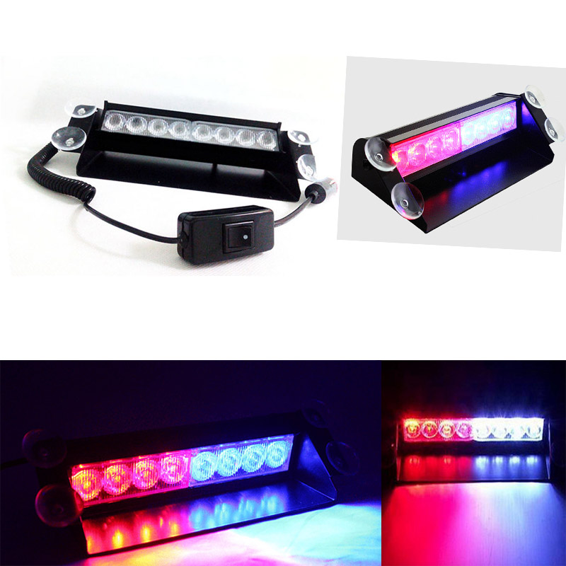 Гаджет  DC12V 8 Led Red/Blue Car Police Strobe Flash Light Dash Emergency  Warning 3 Flashing Light None Автомобили и Мотоциклы