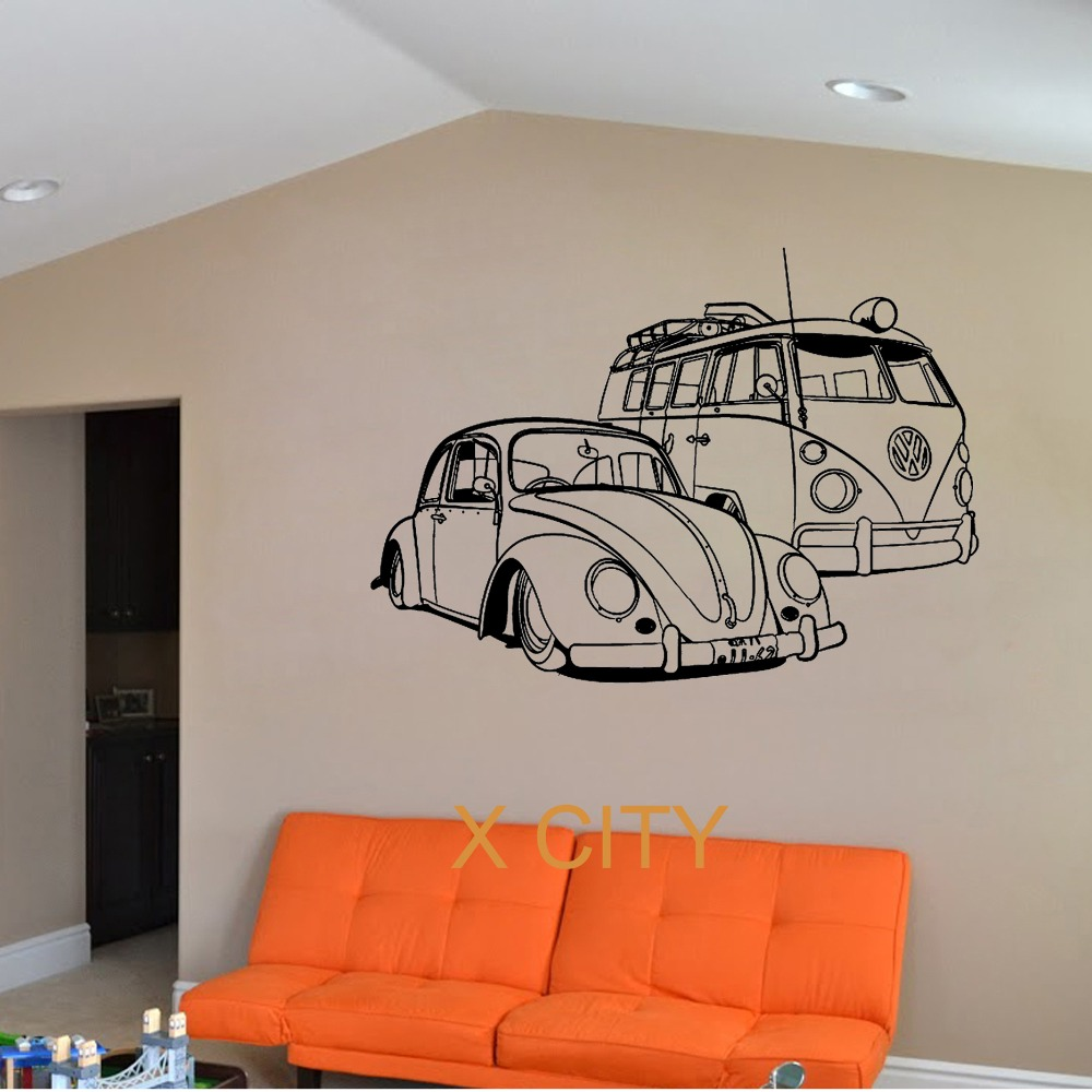 for vw camper van and vw beatle car club vinyl wall decal art decor sticker living room door. Black Bedroom Furniture Sets. Home Design Ideas