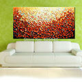 Hand Painted Palette Knife Flowers Oil Paintings Wall Art Canvas Pictures Modern Abstract Living Room orange