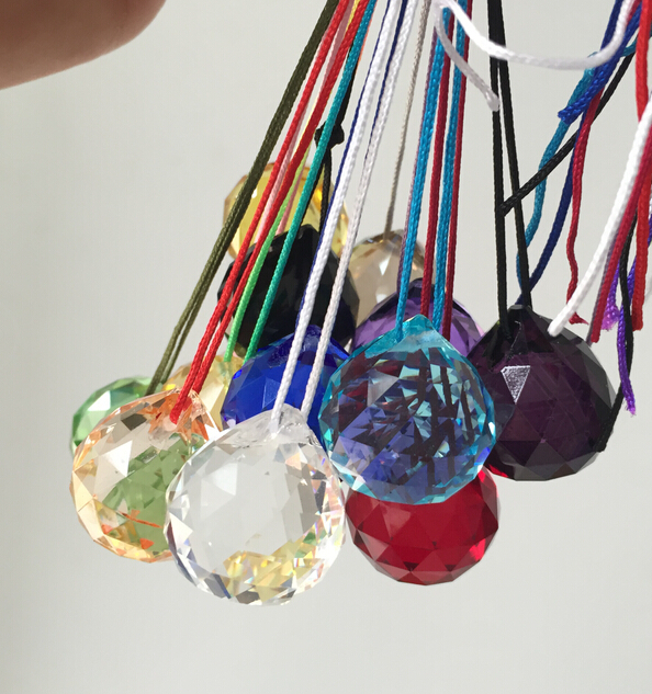 10PCS/lot, Mixed color 40mm crystal sunctcher prism balls crystal feng shui faceted balls with free colorful string(China (Mainland))