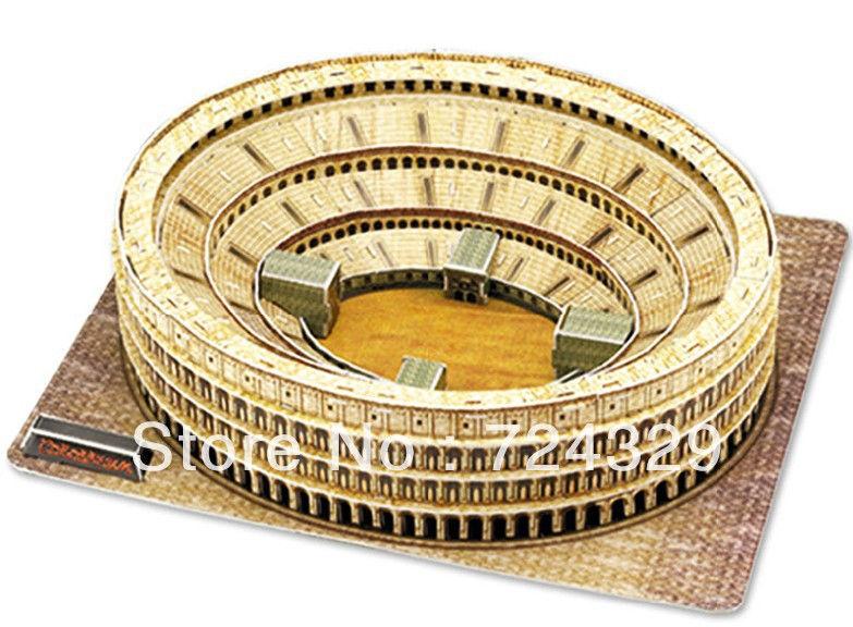 3D puzzle paper craft TheRome Colosseum Italy 1PC three-dimensional puzzle building model Educational Toy free shipping(China (Mainland))