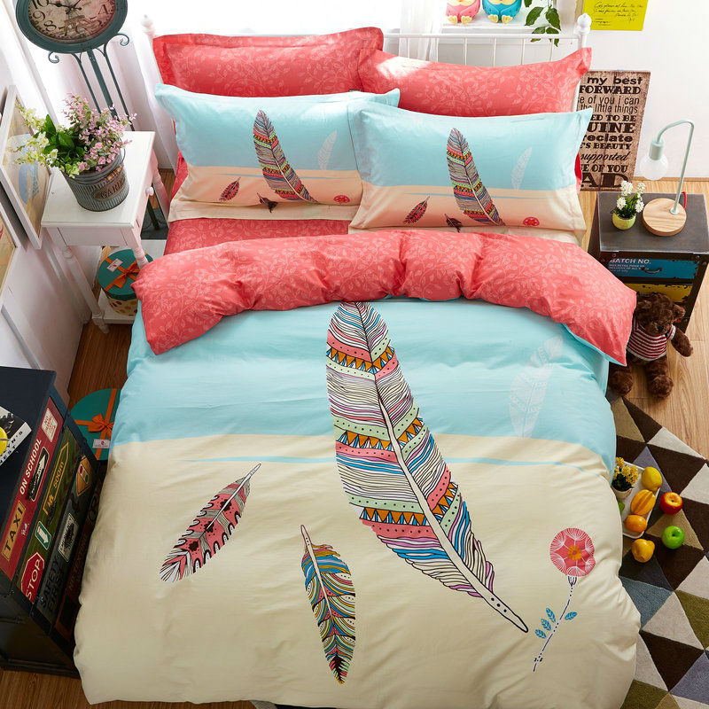 brief style colorful feathers pattern bedding sets 100% ...