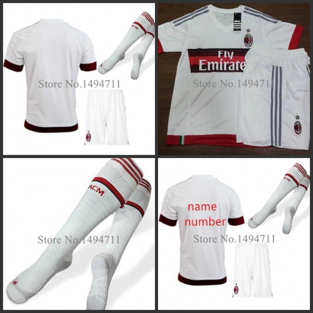 15 16 AC milan Away White soccer jersey 2016 AC milan away MENEZ HONDA MONTOLIVO EL SHAARAWY CERCI football shirt+short+sock set(China (Mainland))