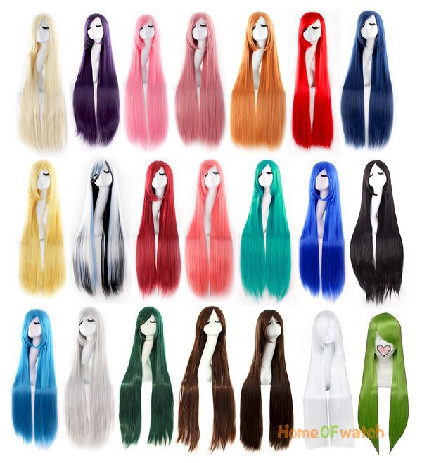 Cosplay Side Of The Long Straight Wigs Oblique Bangs Different Colors 100cm (NWG0CP60917)(China (Mainland))
