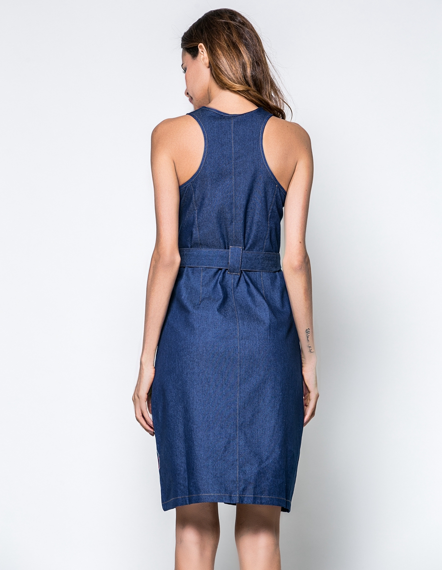 2017 new Summer Women Dresses Fashion Women Sleeveless O-Neck Strap zipper split Femininas Summer Clothing Denim Dresses L7164