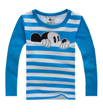 Hot sale 100% cotton boys girls cartoon long sleeve t shirts kids cute mouse tops multicolours clothes for children 's clothing(China (Mainland))