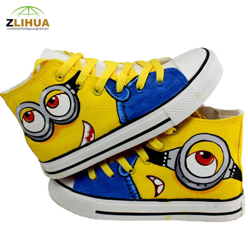 LUC Boys Girls Kids Bab Cartoon Minion Fashion Unisex Hand Painted Canvas Shoes Anime Despicable Me Minions Footwear Hot Product(China (Mainland))