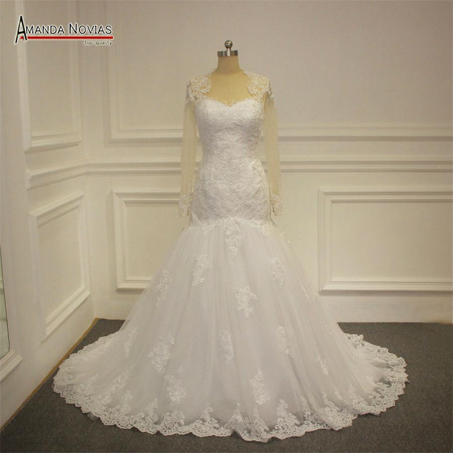 Новый 2016 Люкс Свадебные Платья Русалка С Длинными Рукавами