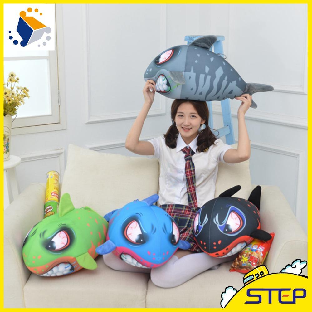 Free Shipping 1pcs Simulation Big Eye Giant Shark Plush Animal Toy Soft Cartoon Shark Doll Home Decor Birthday Gifts ST389(China (Mainland))