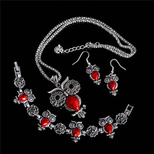 1Set Womens Vintage Classic Colorful Cute Owl Jewelry Set Include Bracelet Earrings Bracelet(China (Mainland))