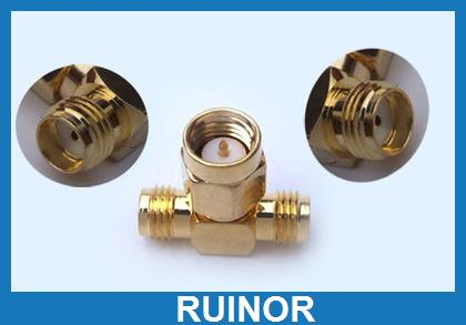 50pcs Copper SMA Male to 2 Double SMA Female Plug Adapter T Adapter<br><br>Aliexpress