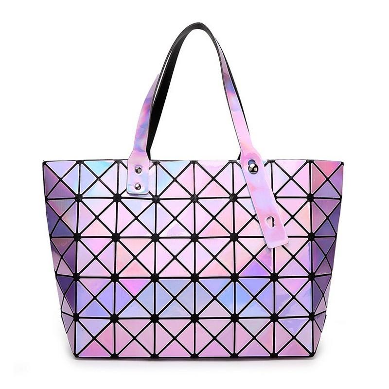 Laser BaoBao Women Dazzle Color font b Plaid b font Tote Casual Bags Female Fashion Fold