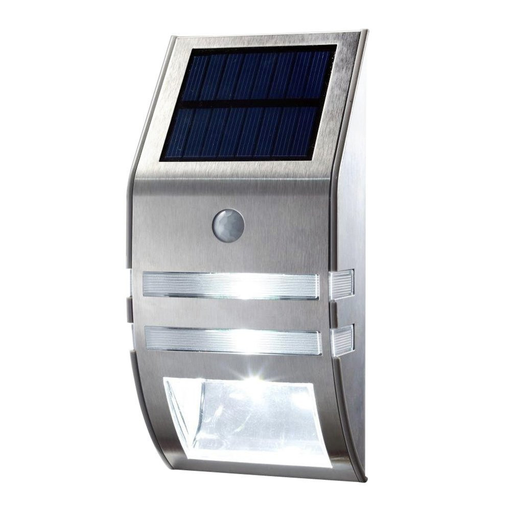 1X Silver Led Solar Wall Light PIR Motion Sensor Garden Lights Wall Motion PIR Lamp, Durable Stainless Steel Solar Wall Lamp(China (Mainland))
