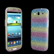 2pcs Sparkle Bling Glitter Rainbow Vinyl Skin Precise Cut Sticker Cover Full Body Protector for Samsung Galaxy S3(China (Mainland))