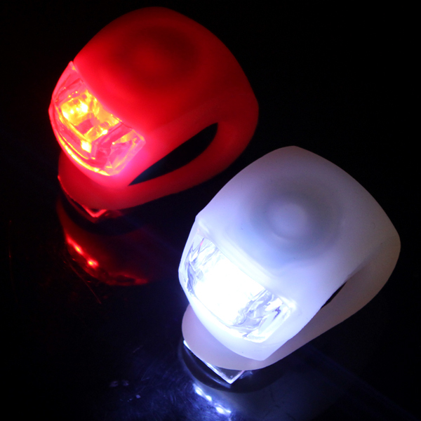 Mini Brillant Waterproof SILICON Bike Bicycle Warning Light Set for Safety Cycling - White LED Front Light + Red Rear Tail Lamp(China (Mainland))