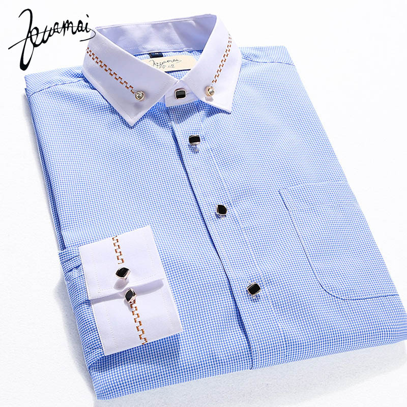 EUROPE Size Many Colors High Quality Brand Men Shirt Small Plaid Print Chemise Homme Casual Long Sleeved Shirt Slim Men XXXL(China (Mainland))