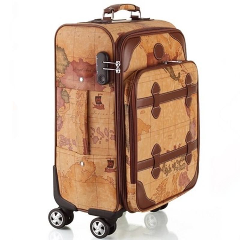 """Best Selling Rolling Luggage color Maps Password Lock PU Computer Trolley case box Bag Spinner Wheels Travel Suitcase 22"""" inch(China (Mainland))"""
