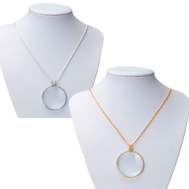 High Quality Beautiful Design Gold /Silver Chain New Necklace 6x 1-3/4'' w/ 36'' Glass Lens Pendant Necklace Magnifier(China (Mainland))
