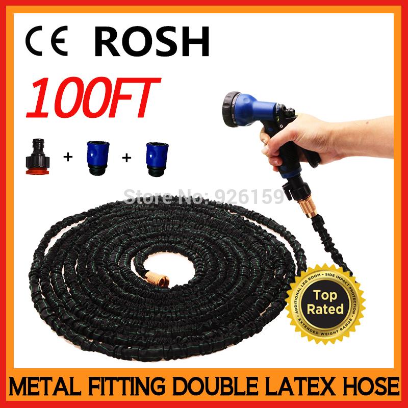 2015 New Garden Hose100ft Expandable Hose Magic Hose Stretch Hose Metal Fitting Water Hose 100ft