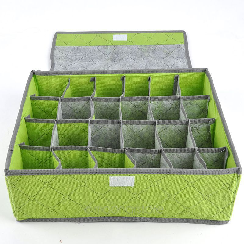 Thicker Foldable Bamboo Fibre Container 7 16 24 Lattices Storage Box Bag for Bra Underwear Socks Closet Organizer BoxesYLMHM708C(China (Mainland))