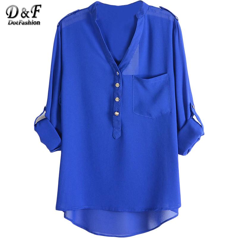 Dotfashion летний стиль свободного покроя девушку шифон топы 2016 новые поступления дамы милый износ синий V шеи погон Dip хем блузка