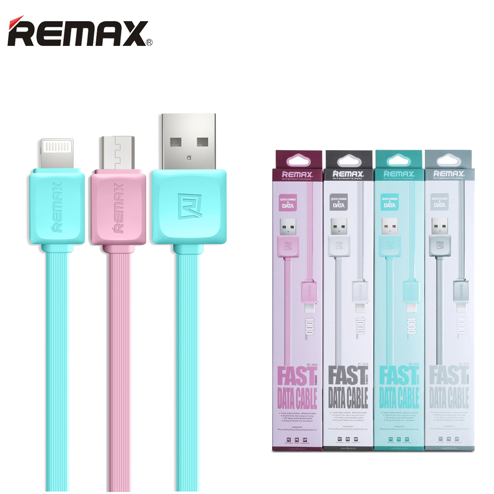 USB Cable for Apple iPhone 5 5s 6 6Plus 6s SE 7 for iPad Air Mini Pro / Micro USB Cord Flat Wire 100cm Charge Data Sync Remax(China (Mainland))