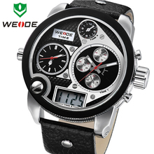 Weide marca gran Dial hombres impermeables de cuarzo reloj de pulsera de cuero LCD Dual Time Display multifunción analógico digital relojes deportivos