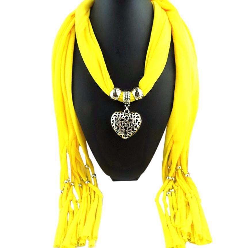 Fashion Autumn Winter Scarves Women Heart Pendant Necklace Scarf Lady Girls Gemstone Tassel Long Scarf Wrap Shawls Stoles #JO