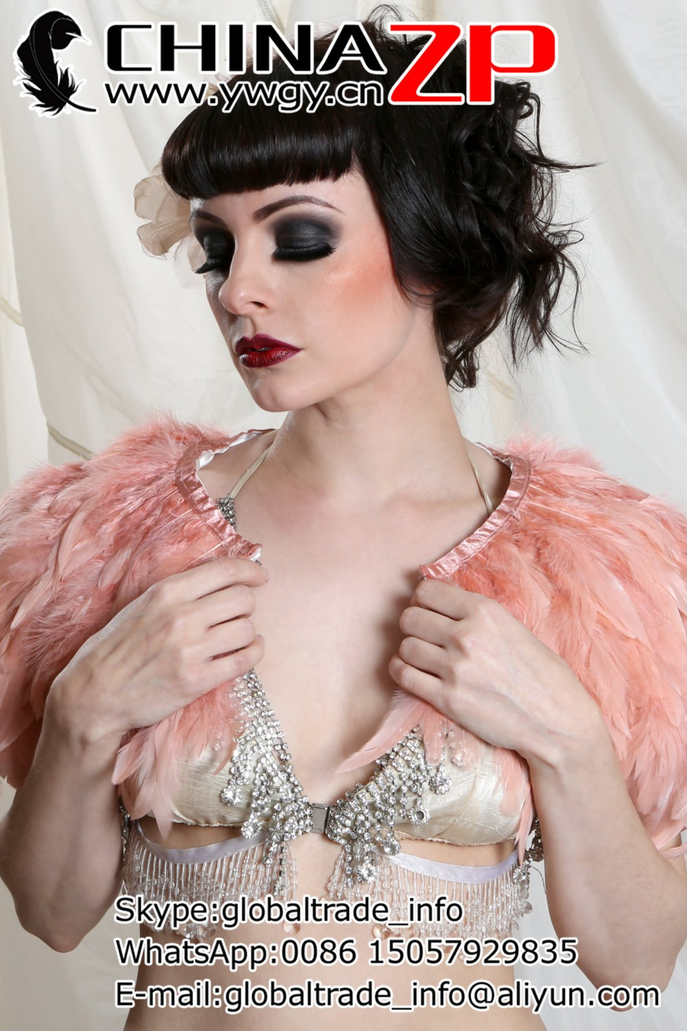 Pink Feather Cape2
