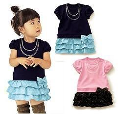 5pcs/lot baby girls fashion bow dots cake dress summer cotton clothing  ZZ0299