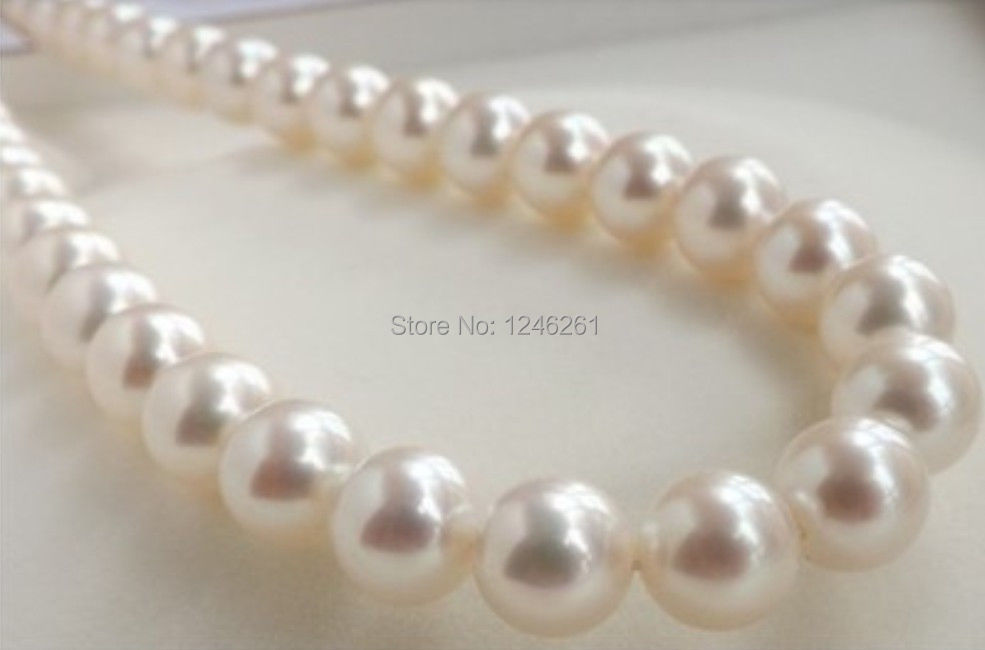 (Minimum Order1)9-10MM Perfect White Rould South Sea Pearl Shell Necklace Rope Chain Beads Jewelry Making Natural Stone 18inch(China (Mainland))