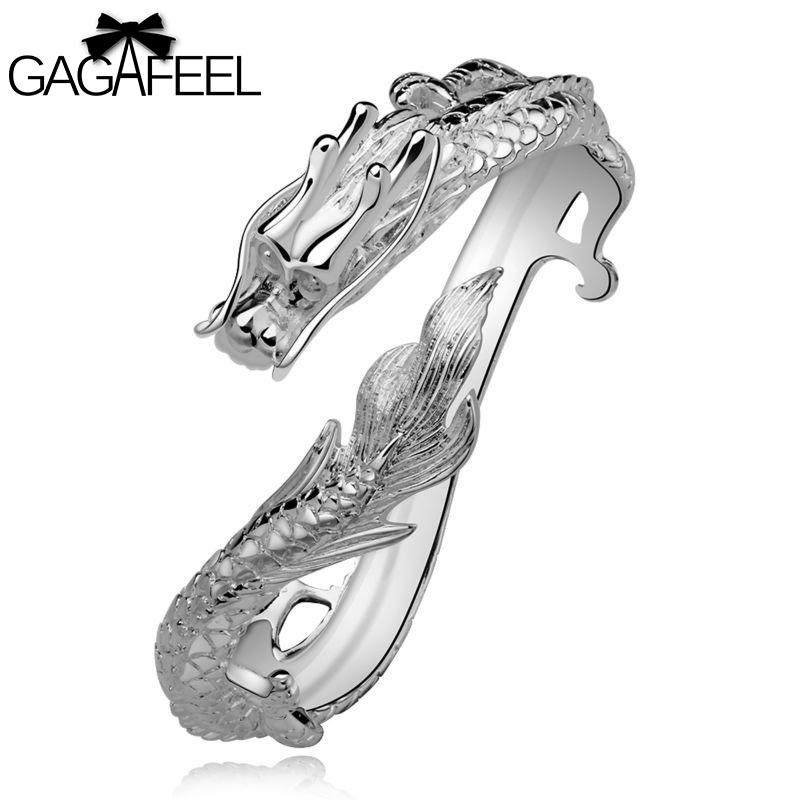 Fashion Women Engagement Jewelry Silver Gem Crystal Zircon Female Wedding Bracelets Retro Dragon Bangles SB222 - Gagafeel Factory Co., Ltd store