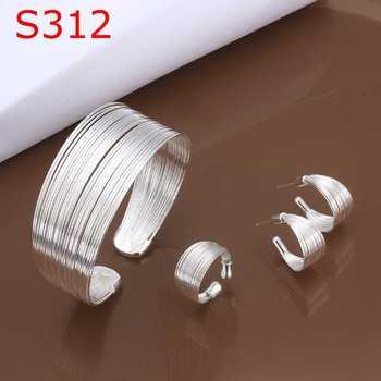 925 чистое серебро милый ювелирные комплект ожерелье браслет браслет серьги кольцо ...