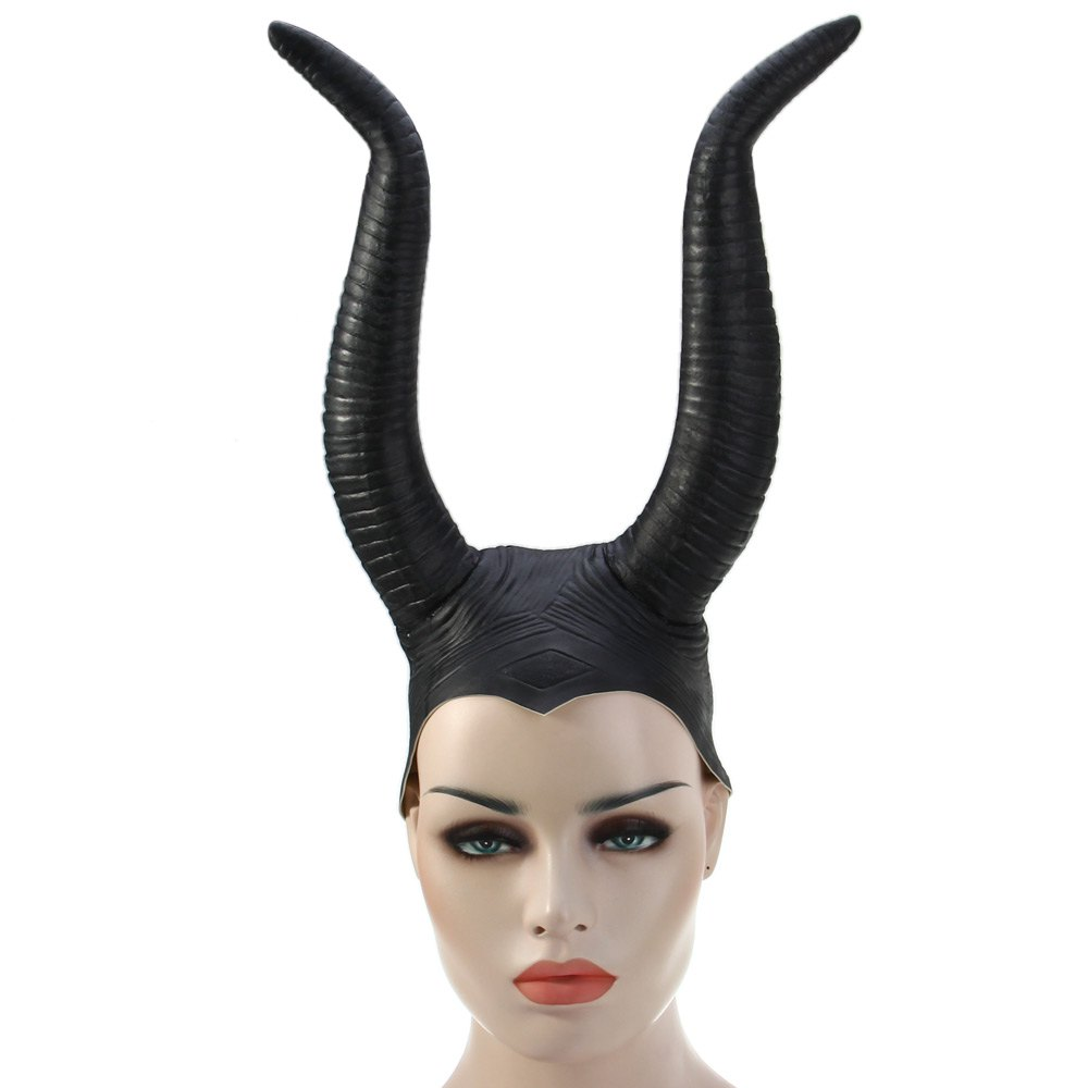 Halloween Upper Hair Face Thriller Devil Horns Ghastliness Black Mask Ox Horn Hat Cap For Cosplay Halloween Masquerade Party(China (Mainland))