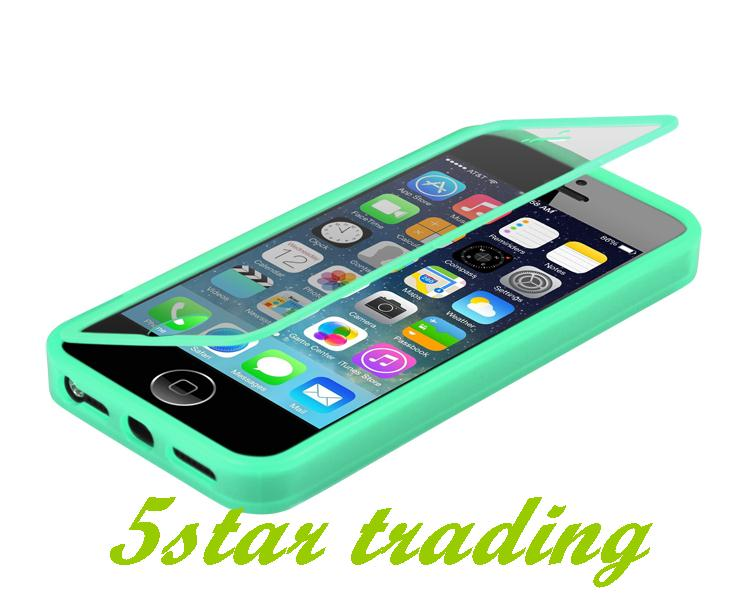 Hot Sale Durable Flip Transperant TPU Wrap Up Cell Phone Case Protective Cover+Built in Screen Protector For Apple iPhone 5 5S(China (Mainland))